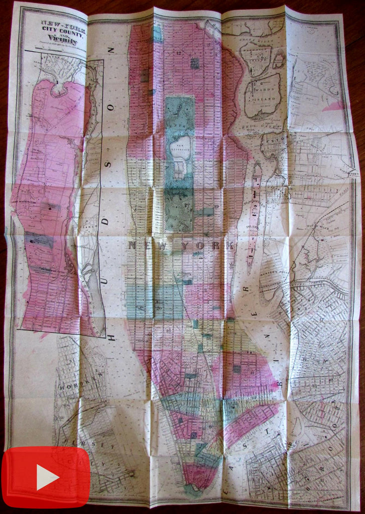 New York City 1866 Dripps large detailed urban city plan Manhattan