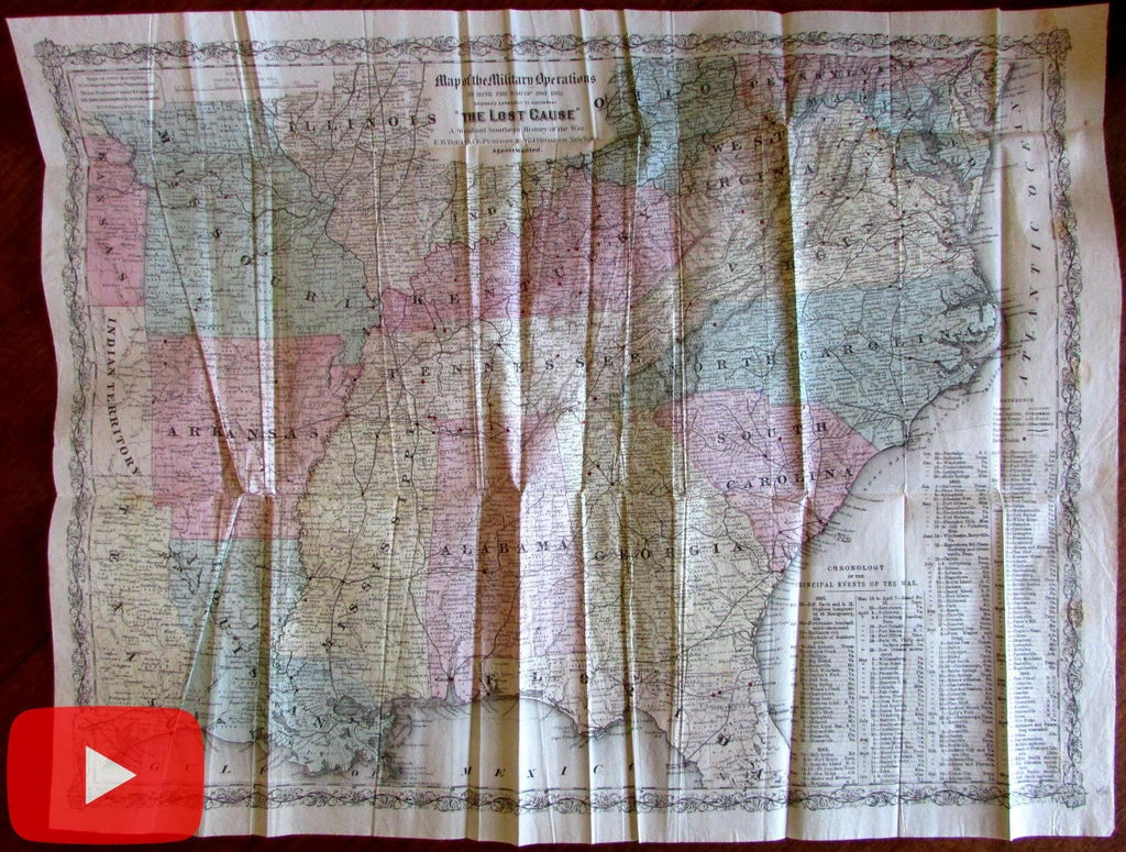 U.S. Civil War Battle Fields Map 1867 Colton large folding pocket map dates