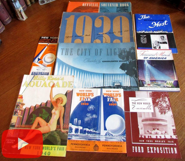 1939 New York World's Fair lot x 8 Art Deco splendid graphics pics