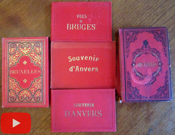 Belgium Brugges Antwerp Brussels lot x 5 souvenir books c. 1870-1900 w/ 66 views