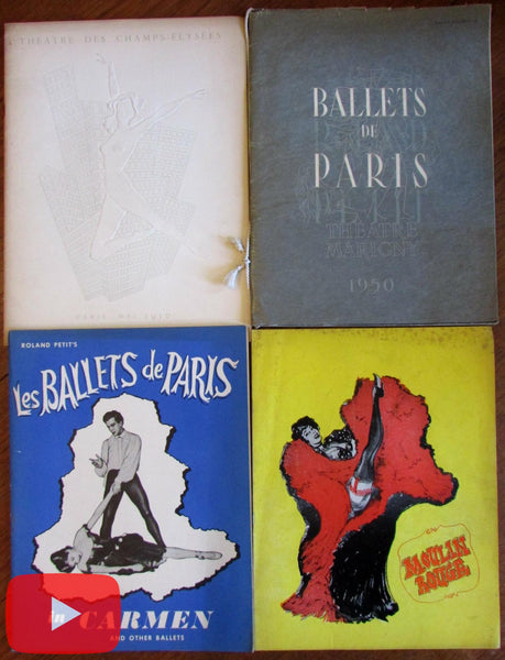 Dance Ballet de Paris 1950-2 Moulin Rouge lot x 4 programs Roland Petit