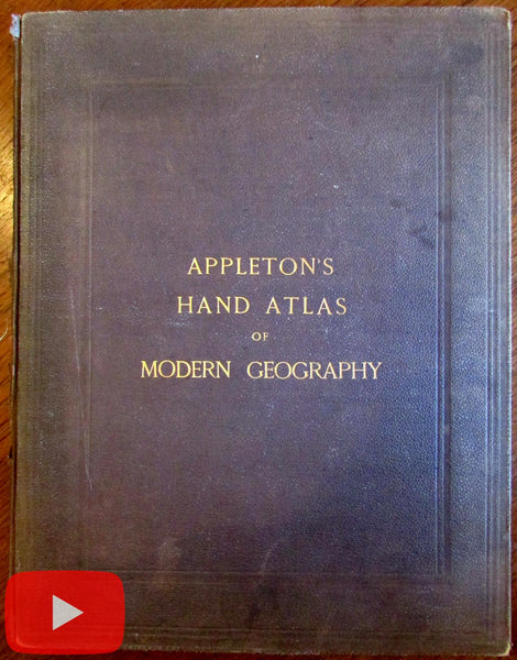 World Atlas 1874 Appleton's complete 31 color lithographed map uncommon quarto