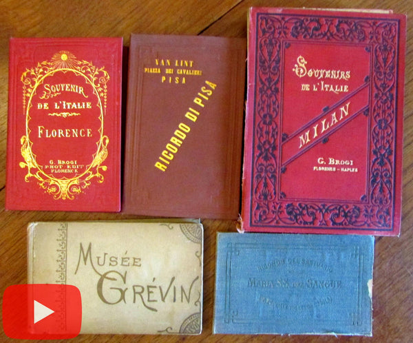 Italy Tourism Travel books c. 1880's lot x 5 with 66 views photos Italia