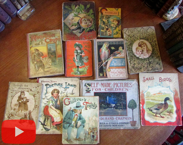 Children's Books 1880's-1916 Colorful lot x 10 w/ many chromolithography plates
