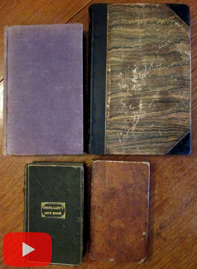 Women in America 1827-1848 lot x 4 old books nice leather bindings advice