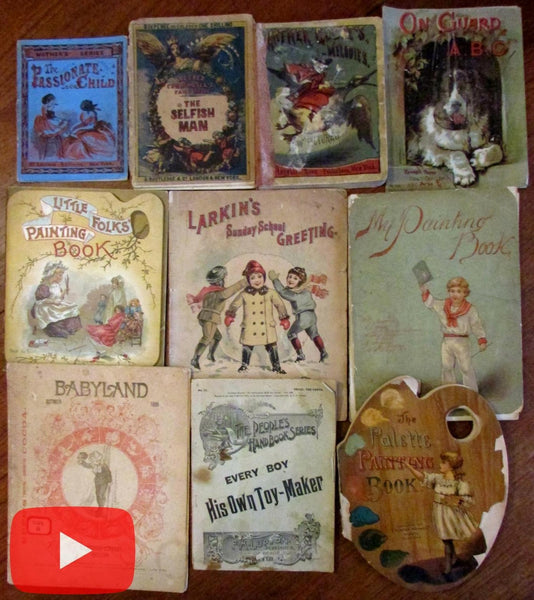 Children's Books 19th century juveniles c.1850's-1900 lot x 10 w/ color plates