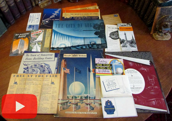 World's Fair 1939-40 New York lot x 20 ephemera items brochures Art Deco