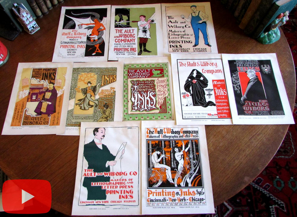 Poster Art c.1902 Art Nouveau Ault Wiborg Ink lot x 10 prints wonderful rare