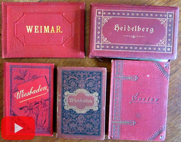 Germany 1880s Tourist photo books lot x 5 Wiesbaden Weimar Heidelberg 52 views