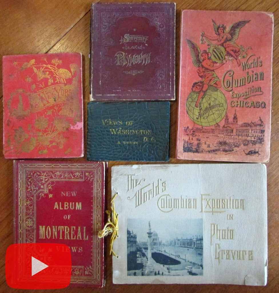 North America 1880-1890's Travel view books lot x 6 Washington NYC Montreal