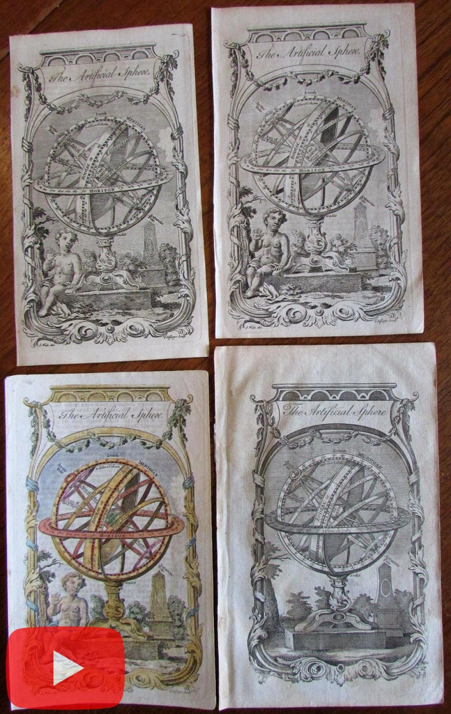 T. Jefferys lot x 4 prints Armillary spheres variant issues cosmography