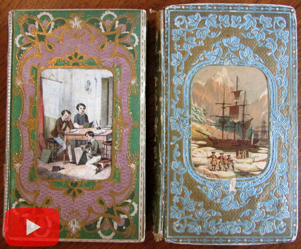 Decorative book bindings 1850-70 Juveniles gilt ornate engravings 2 rare books