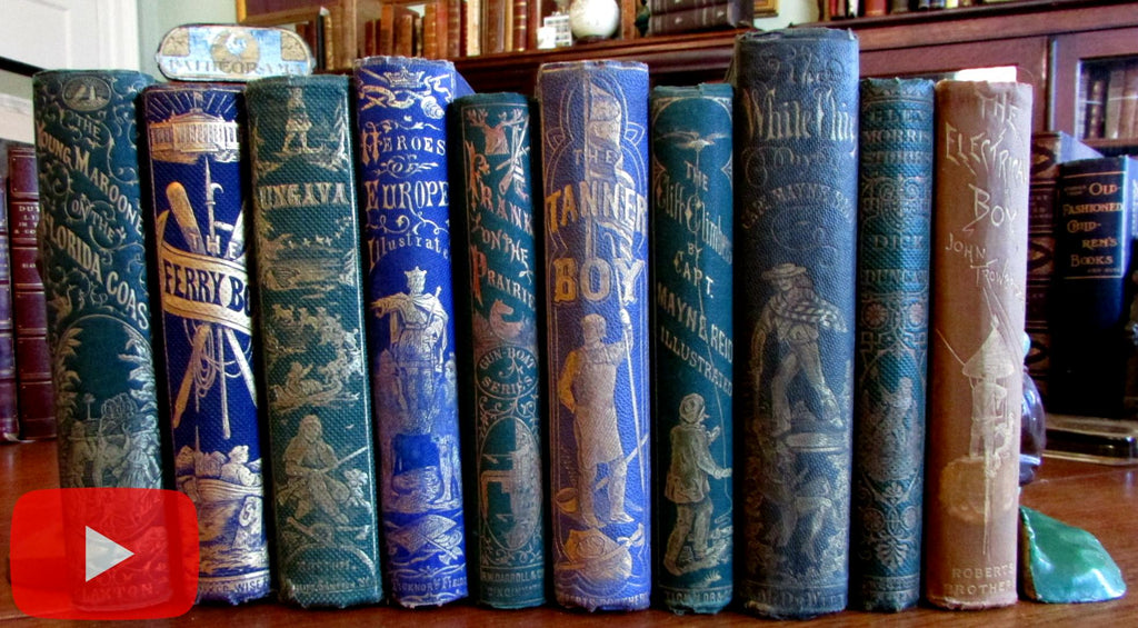 Decorative gilt pictorial children's books c.1860's Lot x 10 wonderful bindings