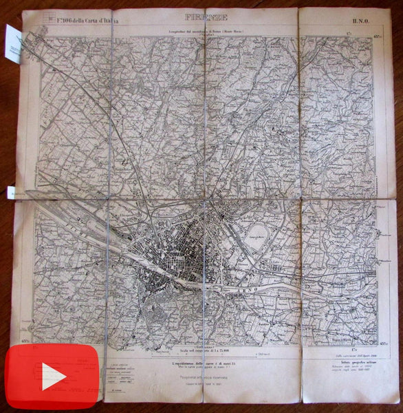 Florence Firenze Italy Italia 1904 linen backed folding map city plan