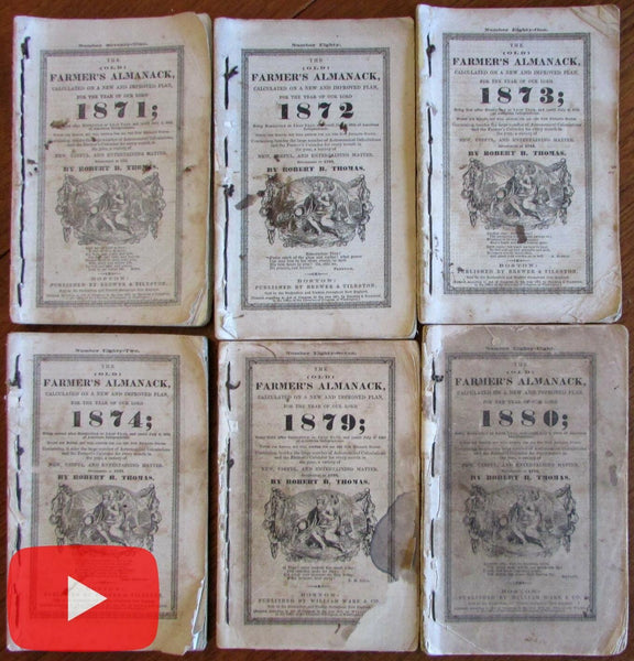 New England Farmer's Almanacks 1871-1880 lot x 6 manuscript visitors trips
