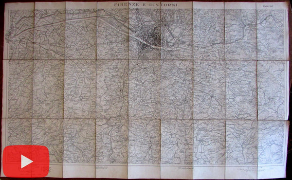 Florence Firenze Italy Italia 1907 linen backed folding map city plan