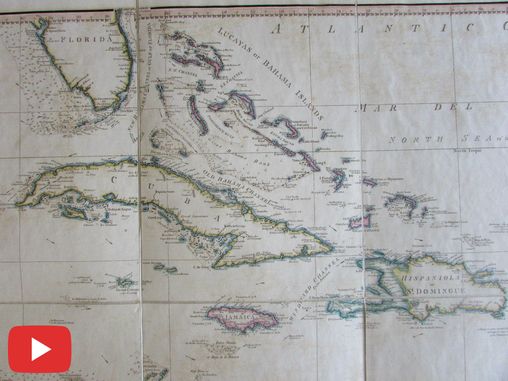 Caribbean 1796 Faden linen backed folding map old color West India islands