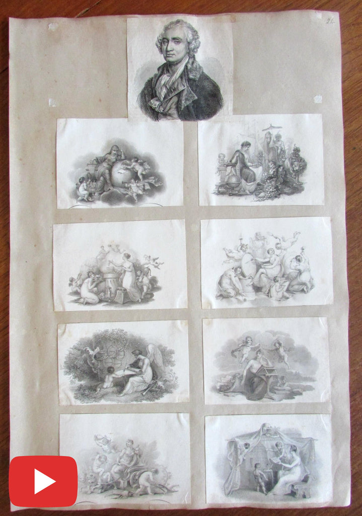 Allegorical Goddesses old print collection 8 images c.1810-30's cherubs