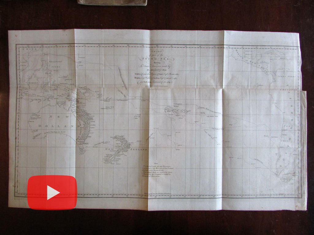 New Holland Australia 1773 Capt. Cook voyage Hawesworth South Seas chart map