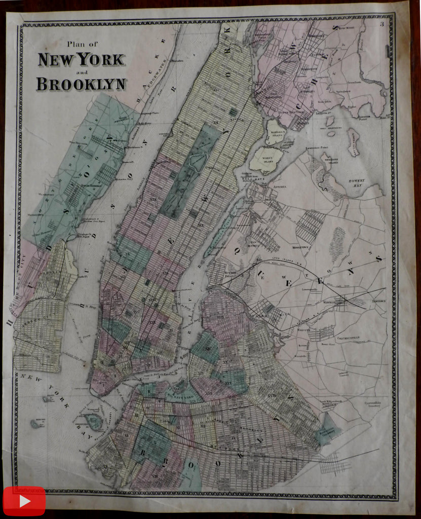 New York city map 1867 Beer lovely detailed city plan Brooklyn Manhattan