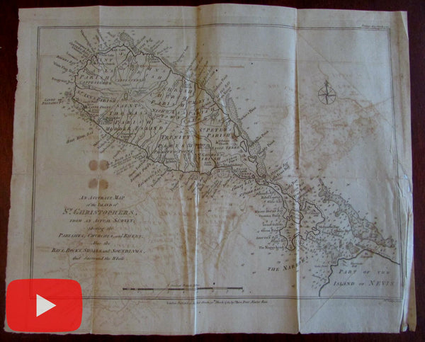 St. Christopher island Lesser Antilles Leeward 1782 map by Lodge detailed