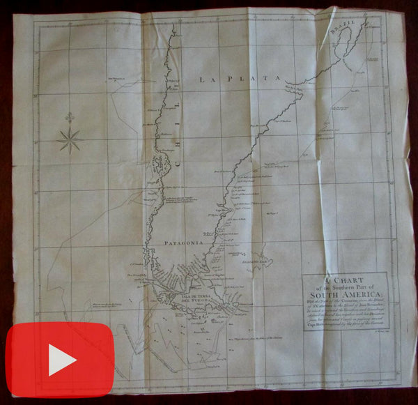 Patagonia Terra del Fuego South America 1748 large Anson map ship tracks