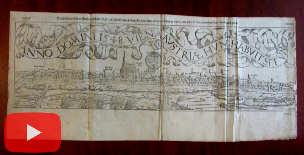 Vienna Austria prospect birds-eye city view 1548 Munster 1598 printed Europe urban