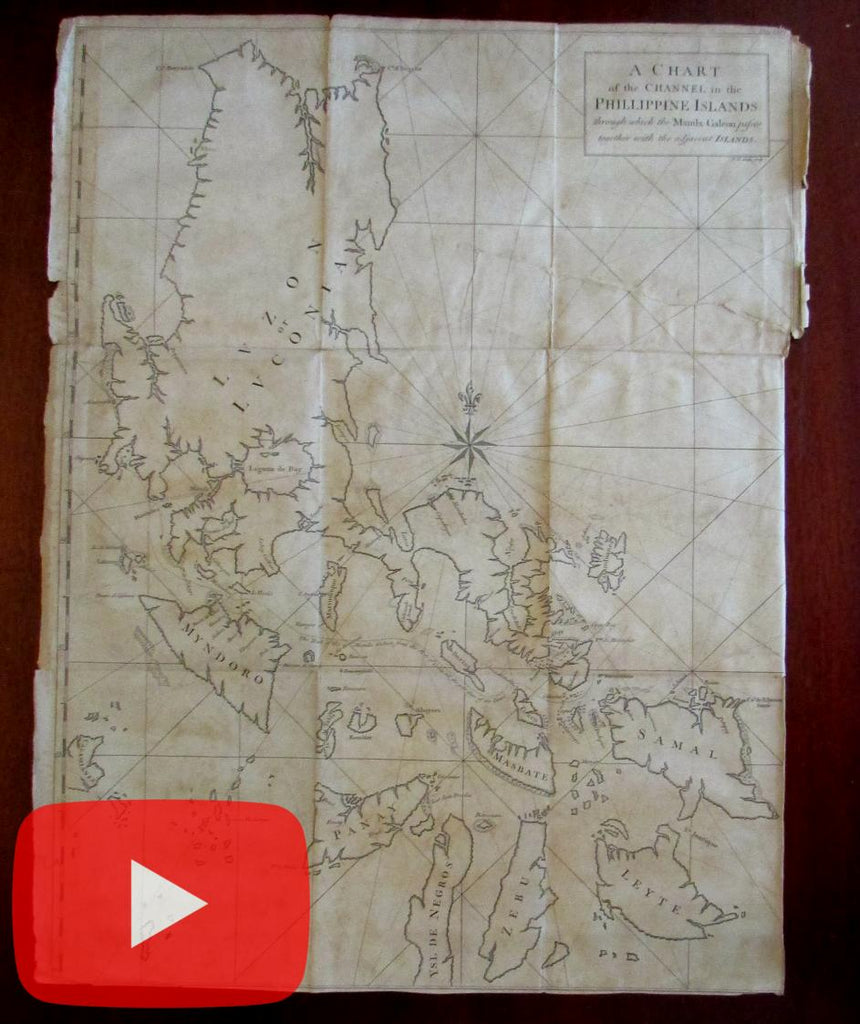 Philippine Islands Manila Galeon ship tracks 1748 large Seale map wonderful scarce