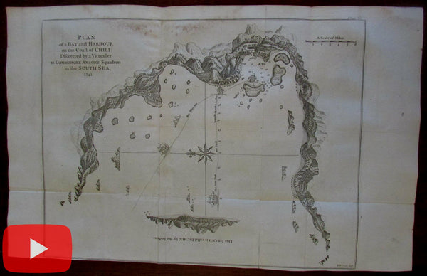 Chile coast Inchin island Anson voyage tracks shown 1748 engraved map by Seale