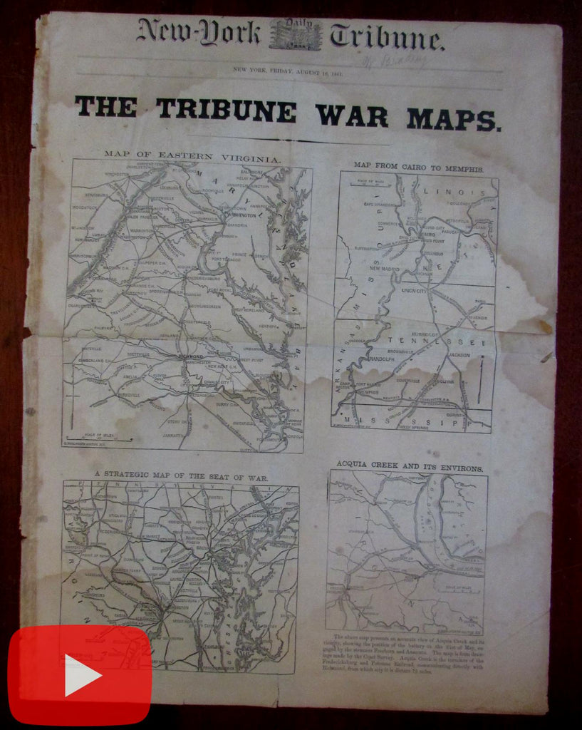 NY Tribune Civil War rare newspaper maps Aug. 1861 Battle Bull Run Casualty list