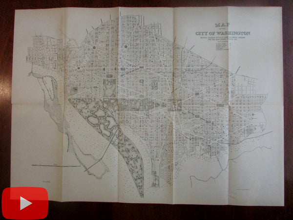 Washington D.C. city plan 1885 Fatal Diseases Medical map Typhoid Malaria Scarlet Fever