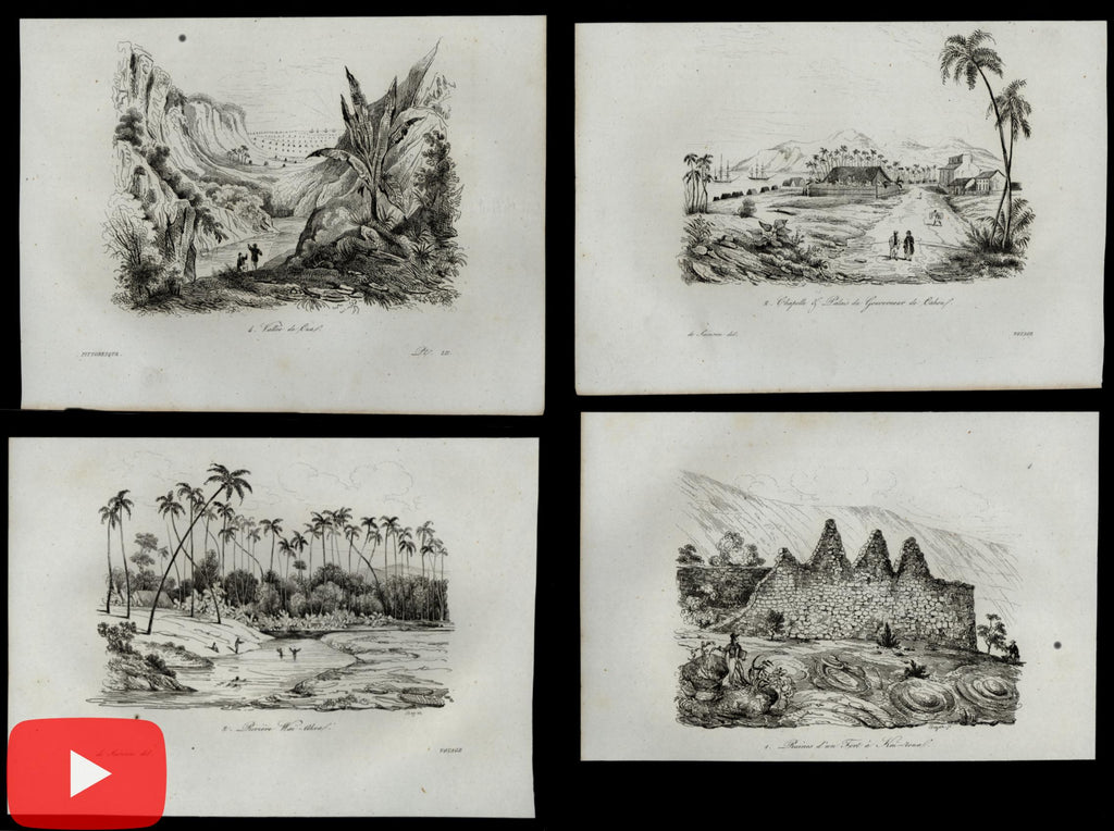 Hawaii Sandwich Islands Pacific Ocean c.1840's lot of 22 miniature view prints