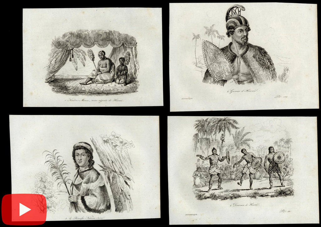 Hawaii Sandwich Islands c.1840's Pacific Ocean lot of 22 early prints peoples ethnic
