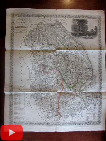 Lincoln County England United Kingdom 1841 Stevenson large decorative map