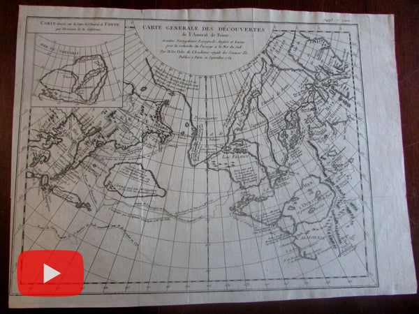 Northwest Passage Search Sea of the West 1752 Admiral de Fonte Delisle map fantasy