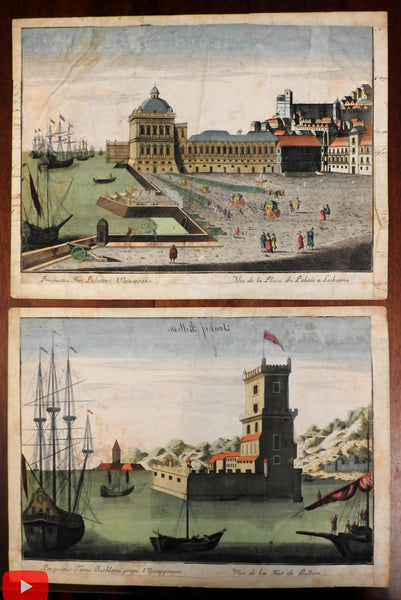 Lisbon Bellem Spain harbors c.1770-90's pair of birds-eye prospect view prints