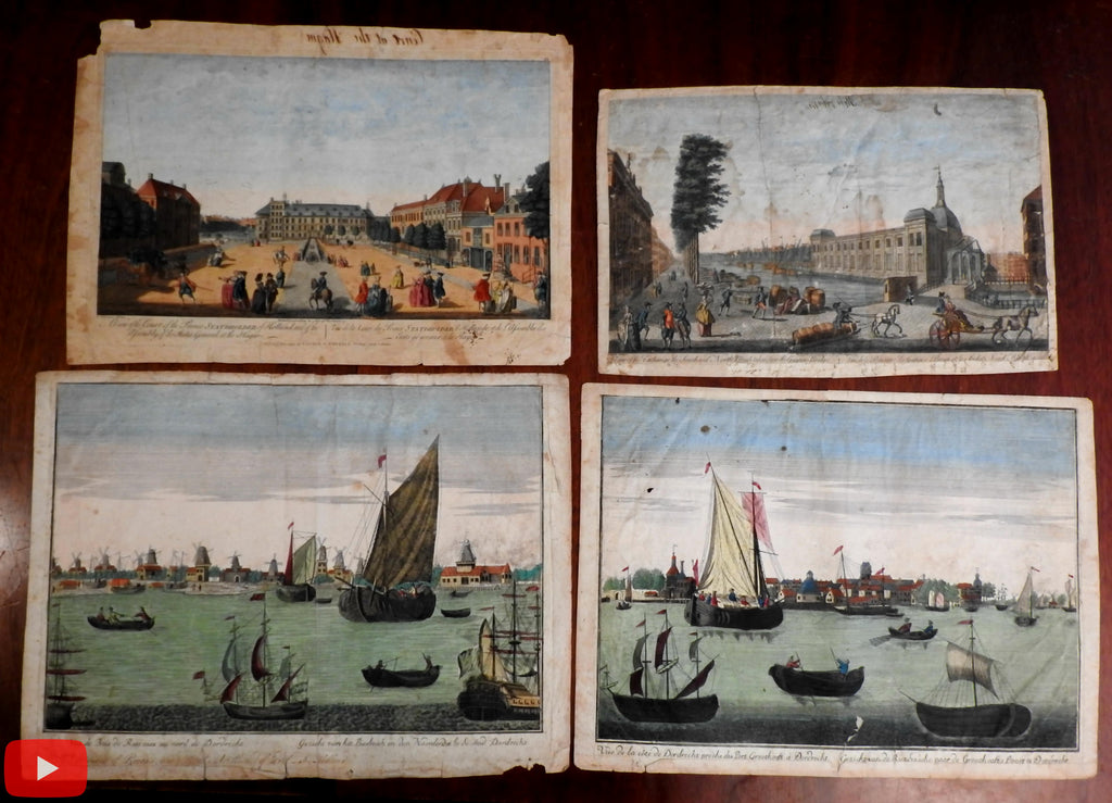 Holland Netherlands Nederland 1790's birds-eye views x 4 Amsterdam Dordrecht Hague