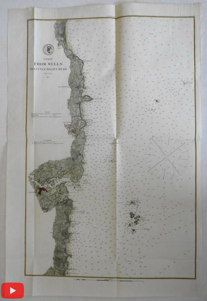 Wells Maine to Little Boar's Head Portsmouth 1879 Nautical coast chart large color
