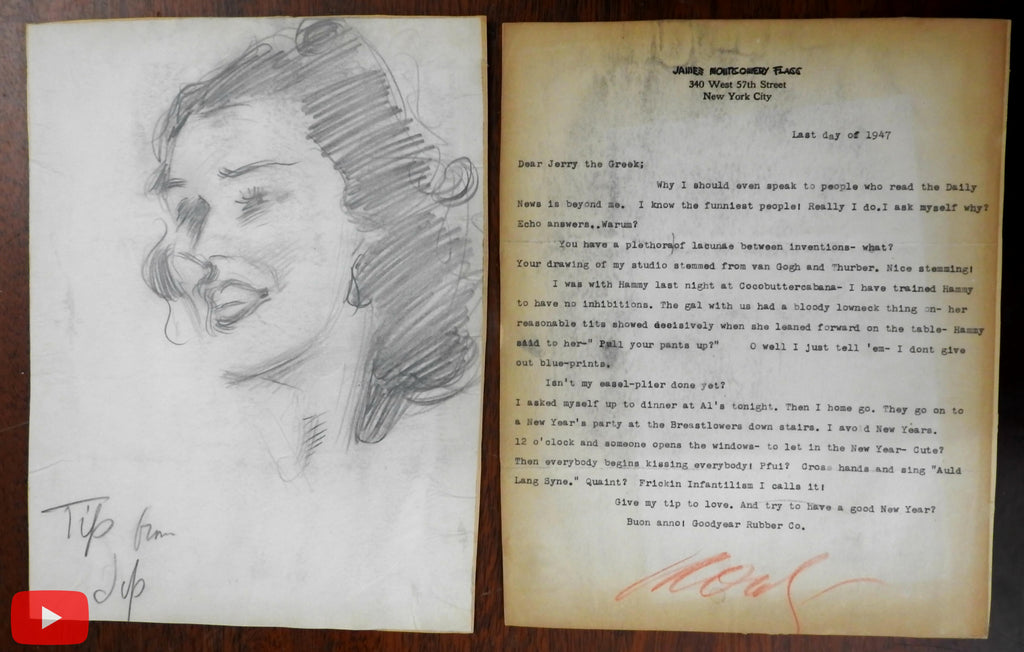 James Montgomery Flagg 1947-9 lot 3 typed Letters & pencil sketch woman Tip