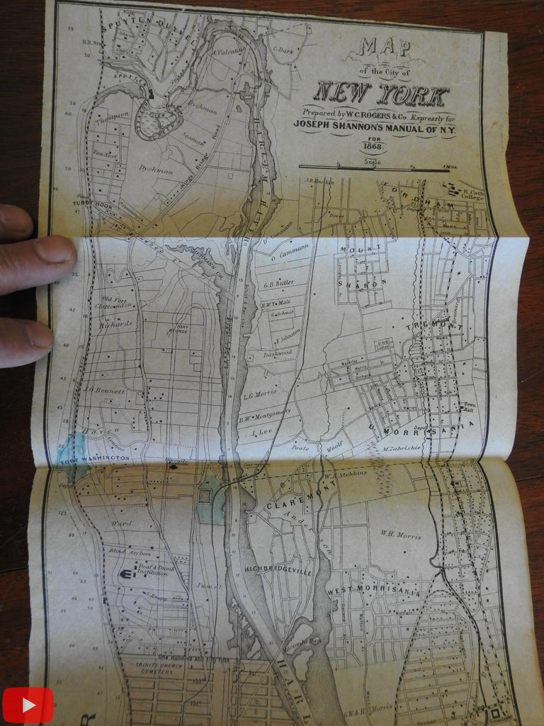 New York City 1868 large folding city plan map original hand color