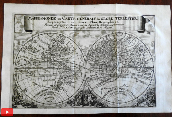 World Map Hemispheres California as an Island 1683 Luyts Sanson decorative map