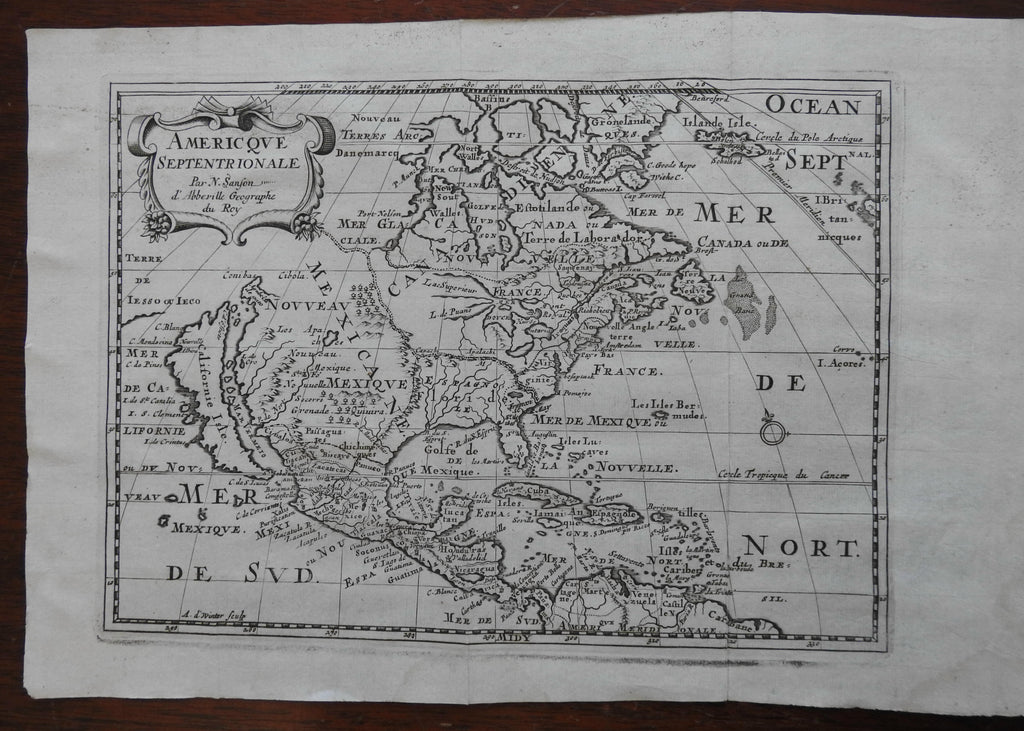California as an Island 1683 North America Unexplored Regions scarce Sanson map