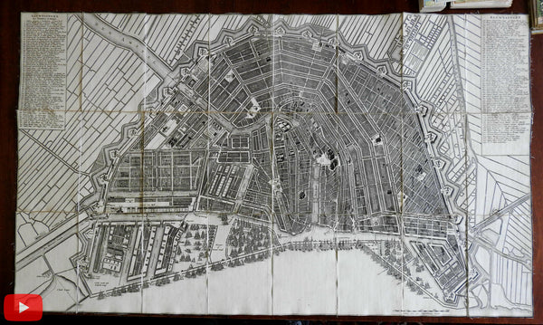 Amsterdam city plan Holland 1715 Visscher Covens & Mortier rare map Nederland