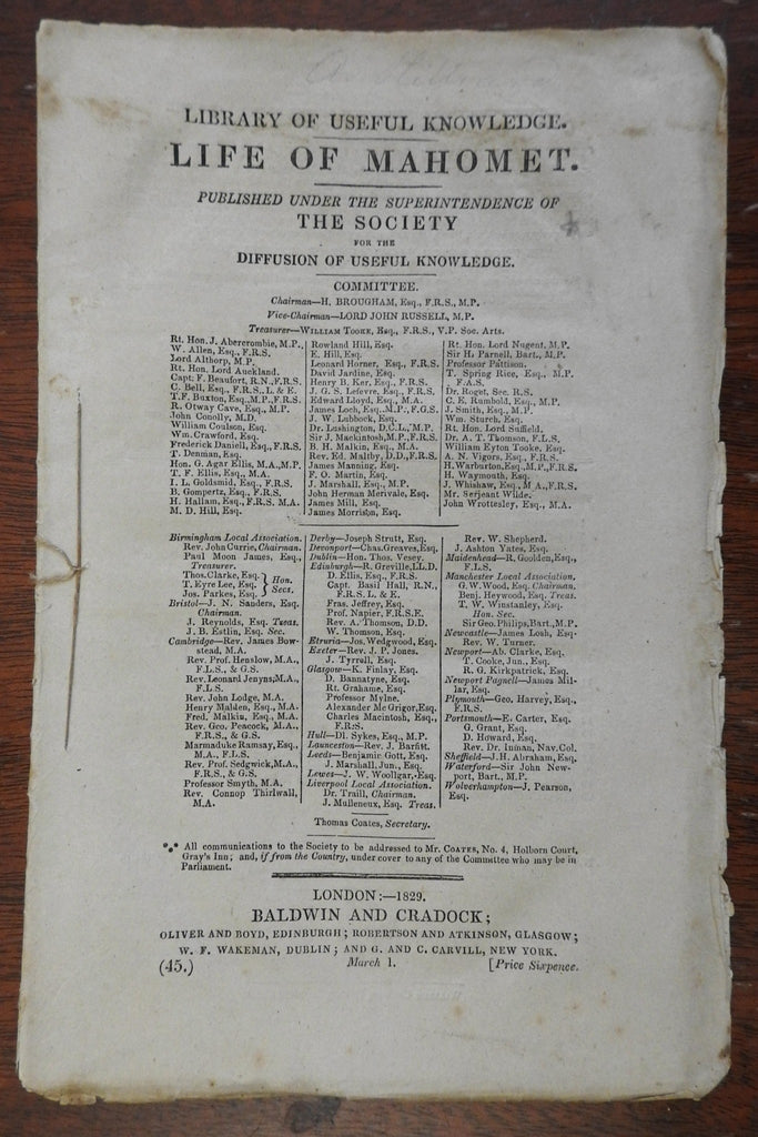 Islam Arabia Life of Mahomed 1829 Society for Diffusion of Useful Knowledge