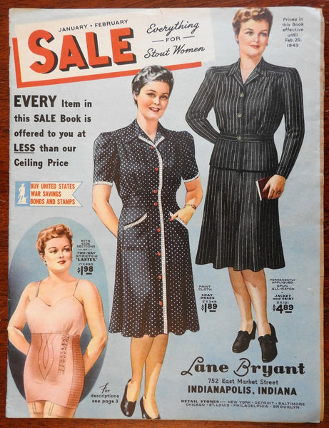 Lane Bryant 1943 WW II era sales catalogue illustrated magazine women's fashion