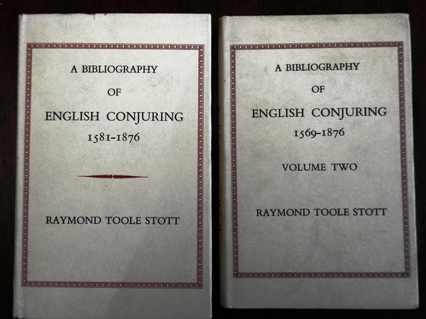 Magic English Conjuring Bibliography 1581-1876 by Stott 1976 pair 2 signed books