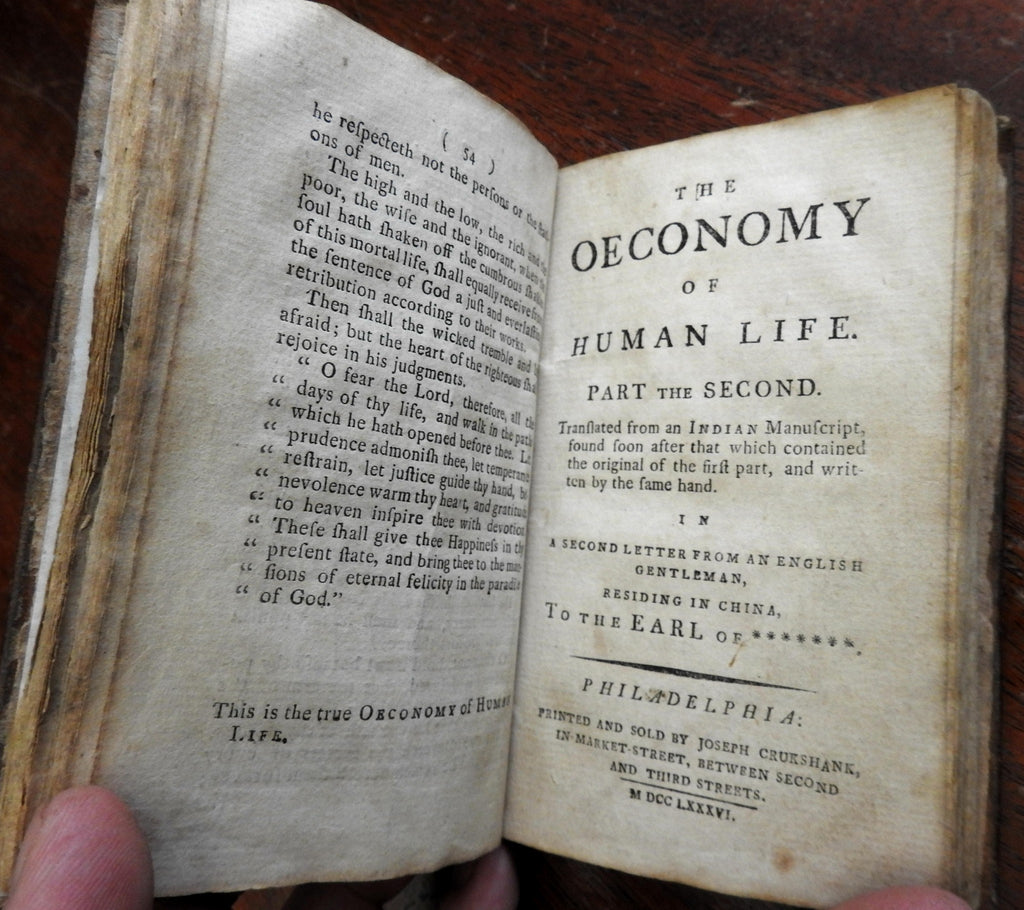 Economy of Human Life Philosophy 1786 Phila. by Dodsley rare American edition