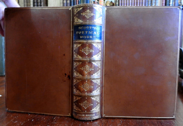 Poetical Works Sir Walter Scott 1880 collected poems beautiful leather book