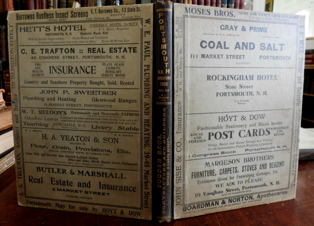 Portsmouth New Hampshire 1905 city Directory Great Period Advertising Businesses