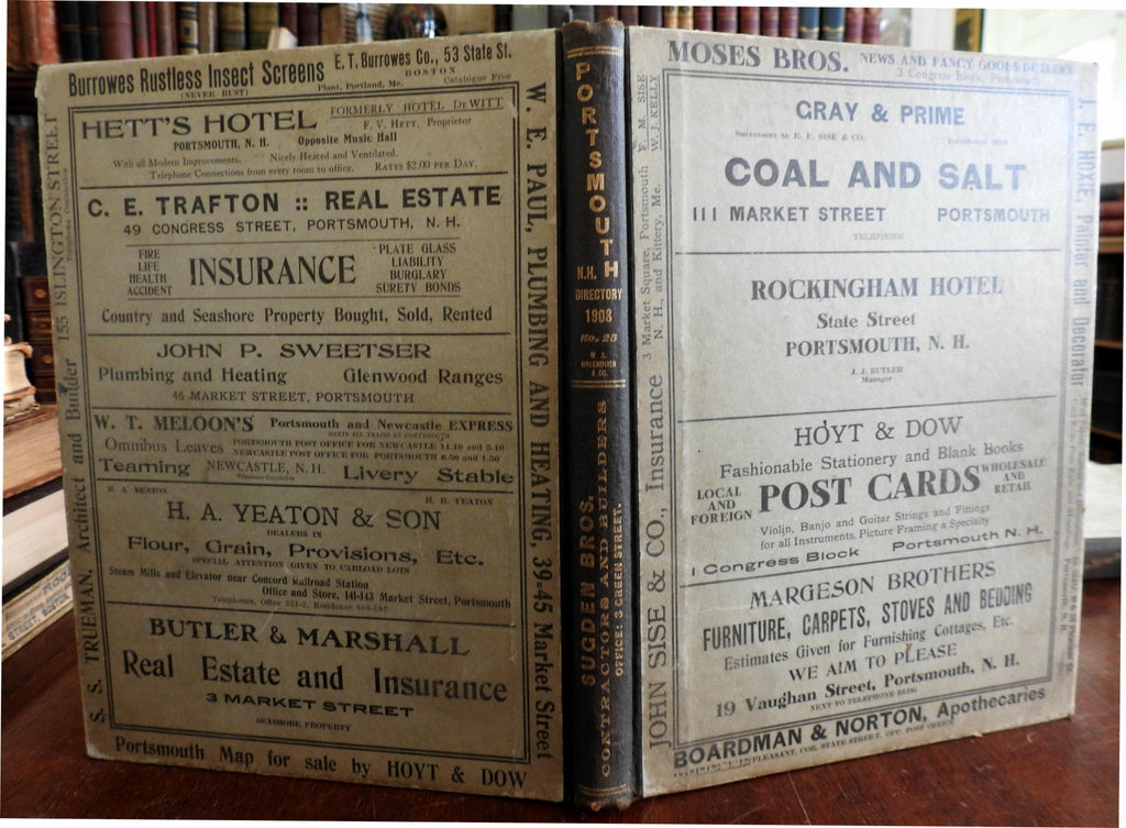 Portsmouth New Hampshire 1908 city Directory Residents Advertising Businesses